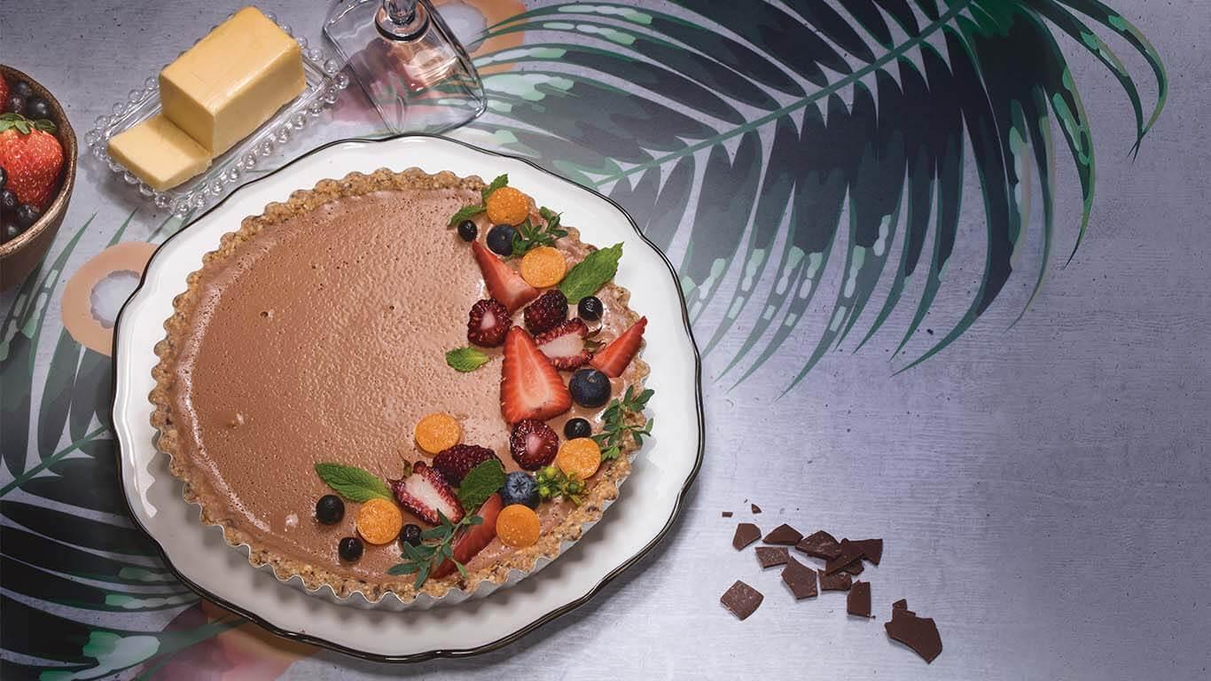 Tartaleta de crema de coco y cacao Tumaco